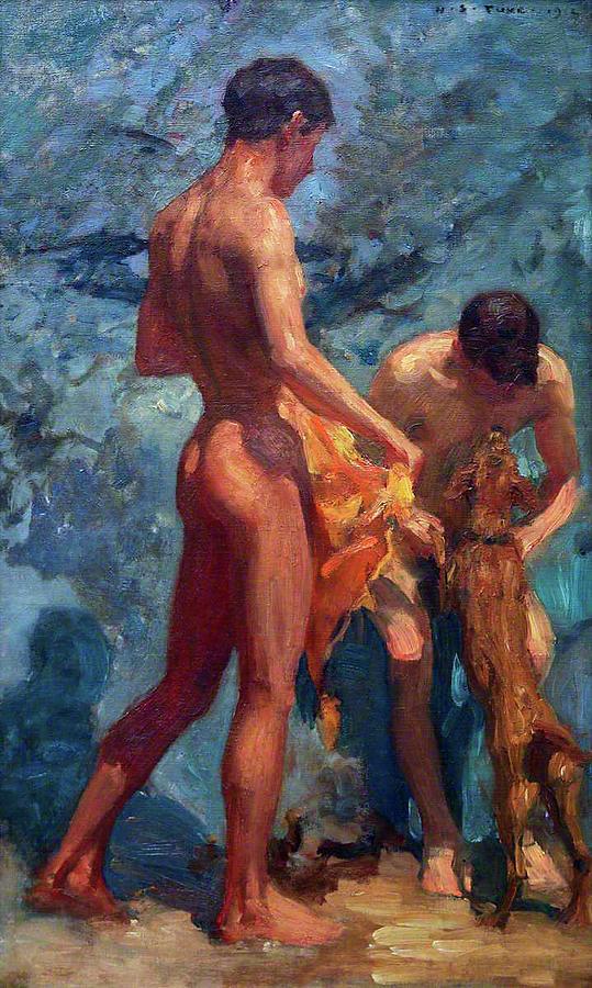 Impressionism Painting - Study Of Bathing Boys by Henry Scott Tuke