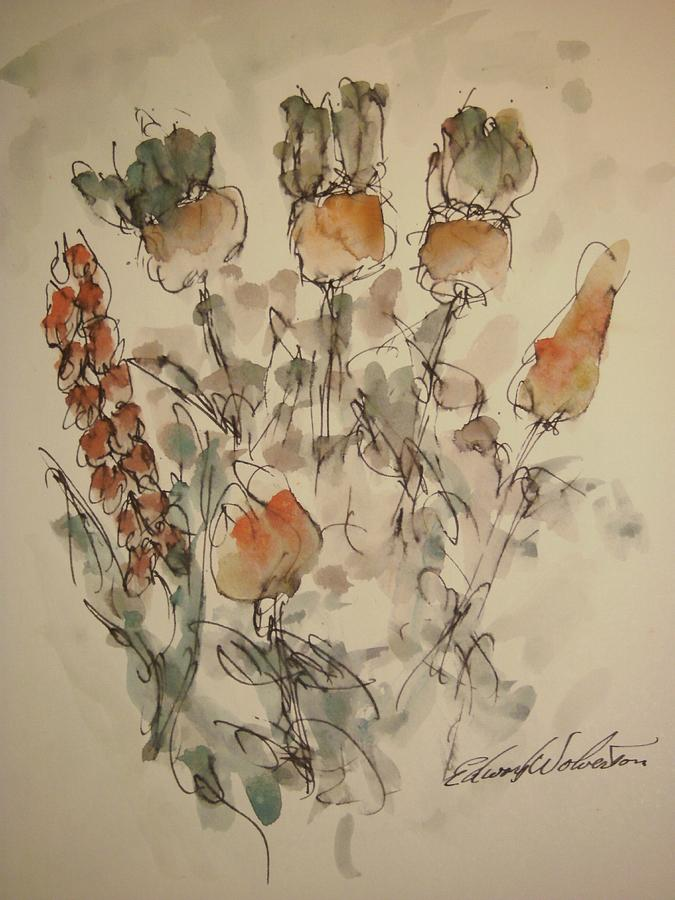 Floral Painting - Study Of Flowers V by Edward Wolverton