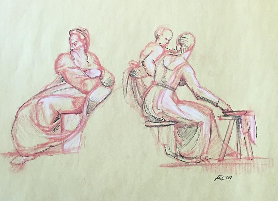 Study of michelangelo woman man and child by Alejandro Lopez-Tasso