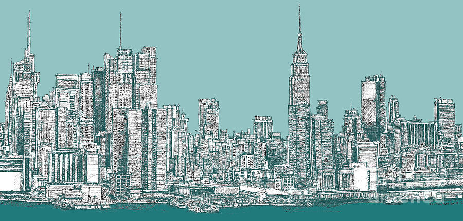 New York City Skyline In Ink Lee-ann Adendorff Pen Nyc Drawing - Study Of New York City In Turquoise  by Adendorff Design