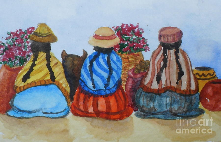 study of street vendors central south america painting by vicki housel. Black Bedroom Furniture Sets. Home Design Ideas
