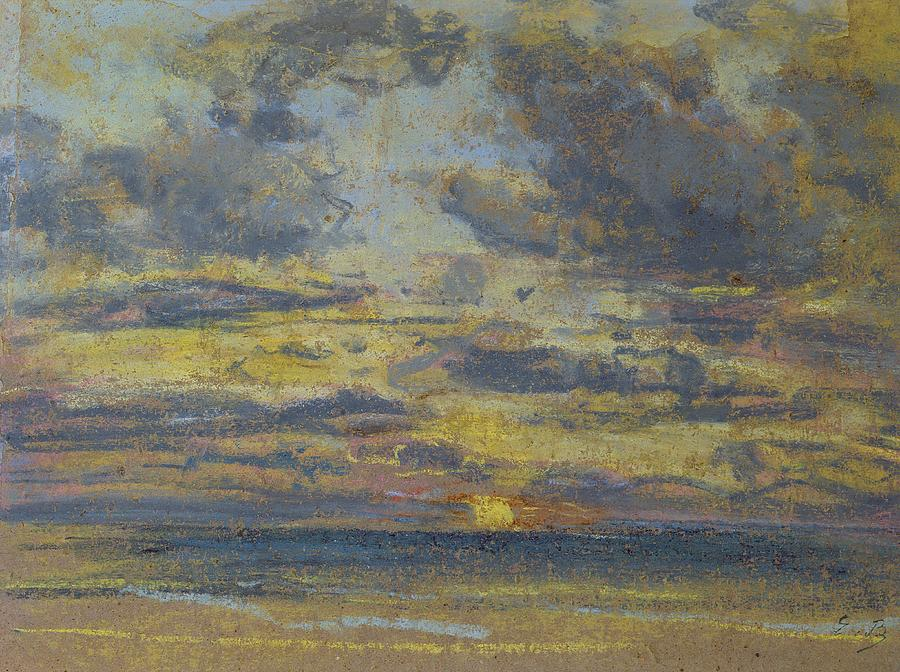 Study Pastel - Study Of The Sky With Setting Sun by Eugene Louis Boudin