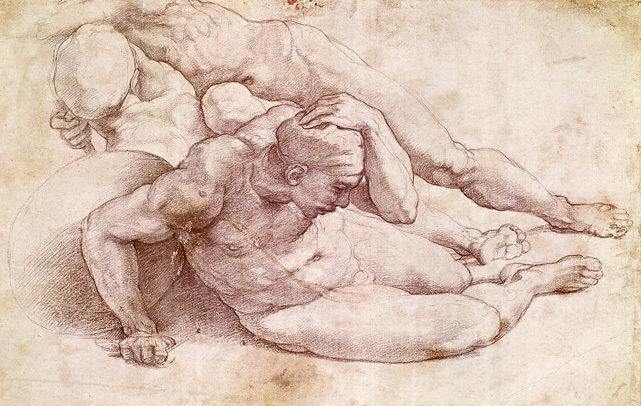 Anatomical Painting - Study Of Three Male Figures by Michelangelo