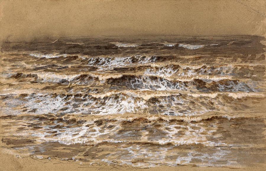 Samuel Palmer Drawing - Study Of Waves by Samuel Palmer