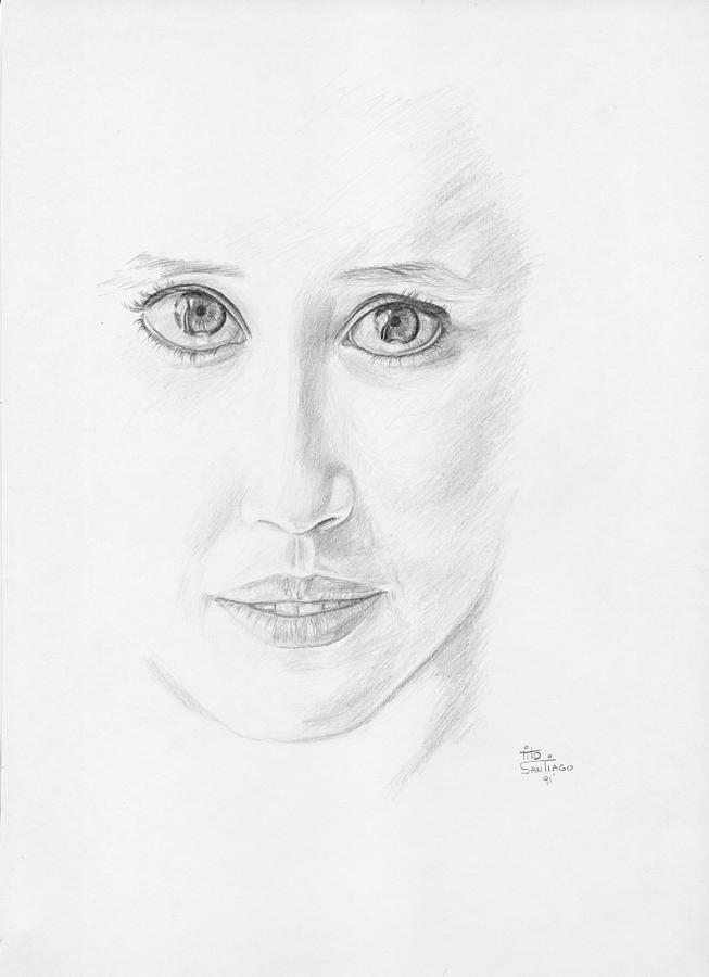 People Drawing - Study On Eyes by Tito Santiago