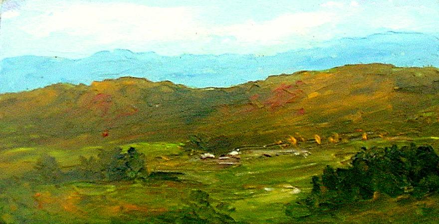Miniature Painting - Study Ranch Land by Fred Wilson