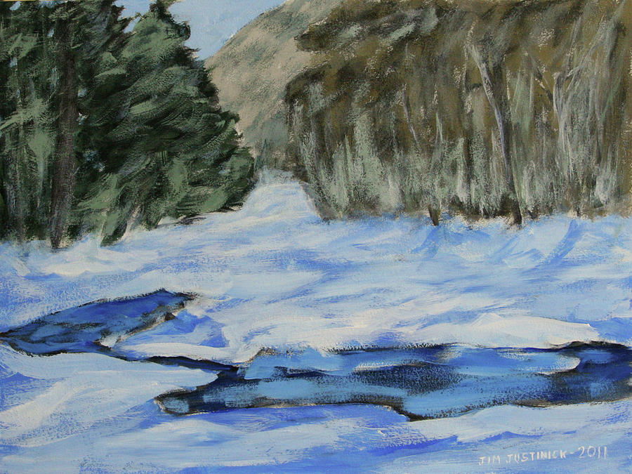 Snow Painting - Study Sketch For Winter Creek by Jim Justinick