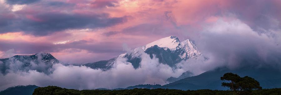 Stuff of Dreams - Italian Mountain range at sunset, wide panorama by Matteo Viviani