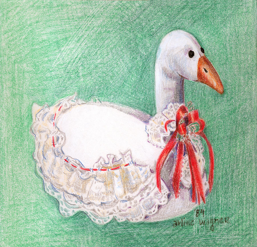 Goose Drawing - Stuffed Goose by Arline Wagner