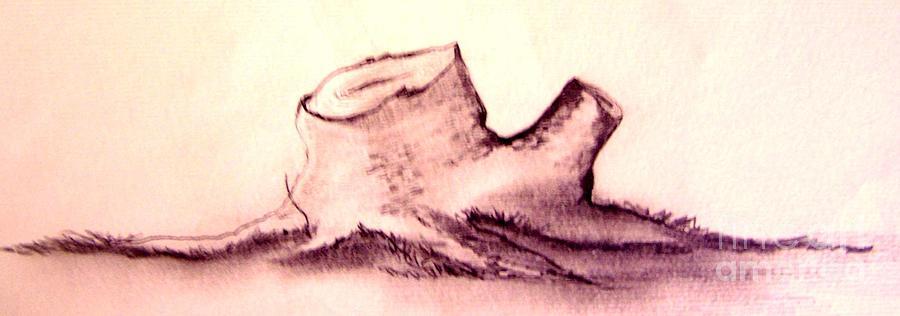 Tree Drawing - Stump by Randy Edwards