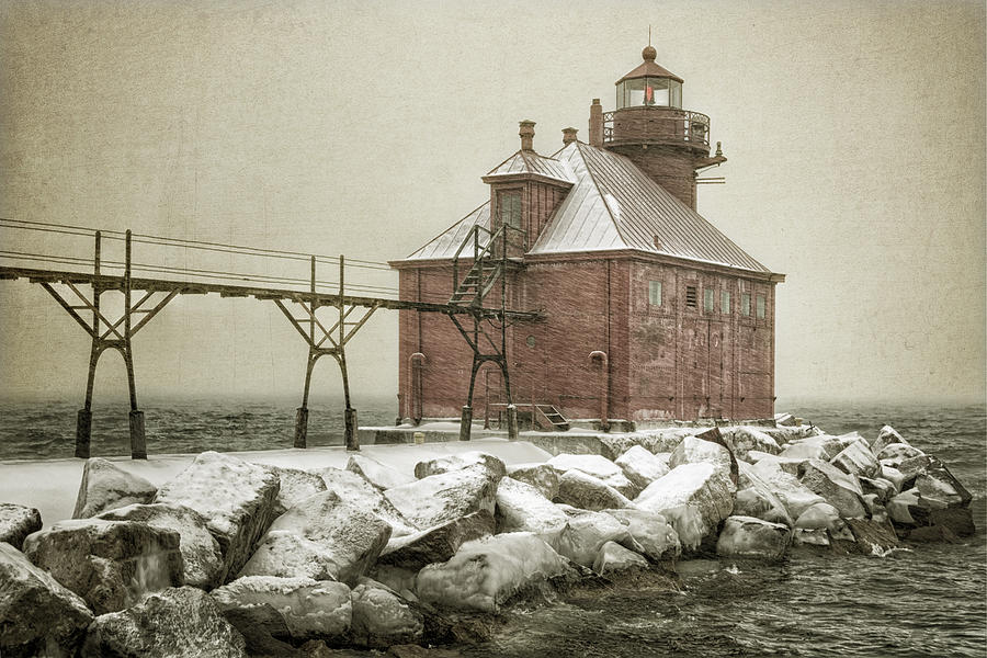 Bay Photograph - Sturgeon Bay Pierhead Storm by Joan Carroll