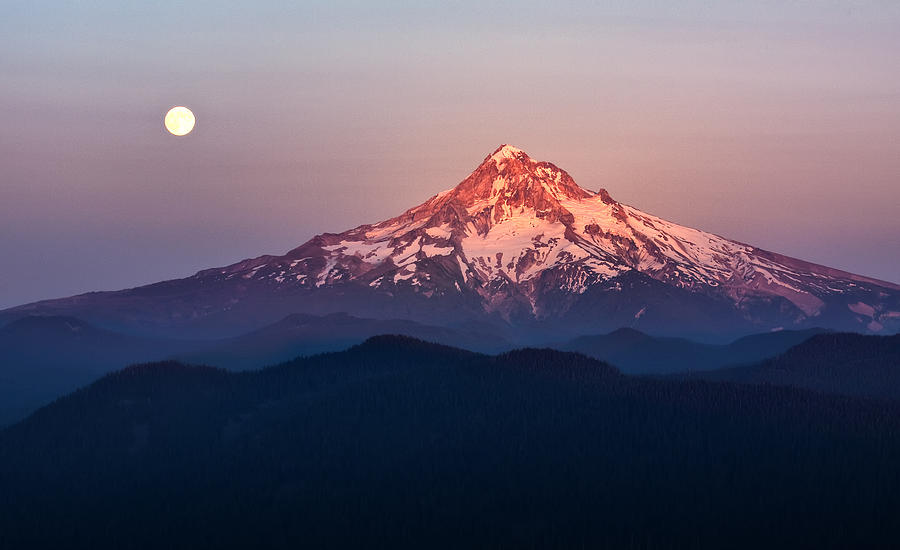 Sunset Photograph - Sturgeon Moon Over Mount Hood by Jon Ares