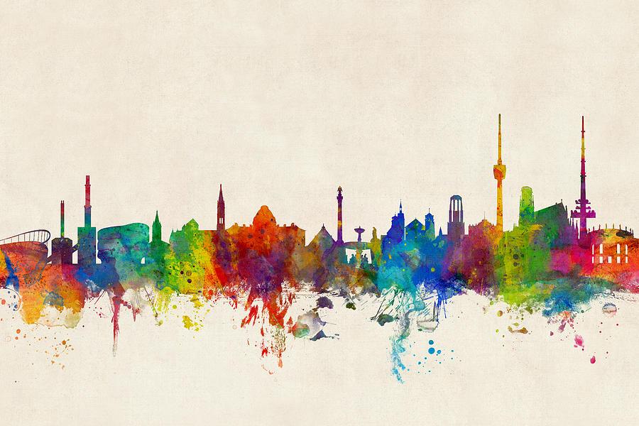 City Skyline Digital Art - Stuttgart Germany Skyline by Michael Tompsett