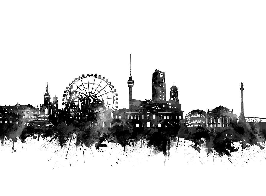 Stuttgart Digital Art - Stuttgart Skyline Black And White by Bekim M