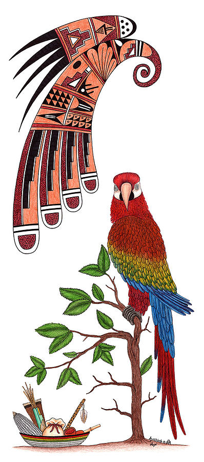 Parrot Mixed Media - Stylized Parrot-clan Symbol by Alfred Dawahoya