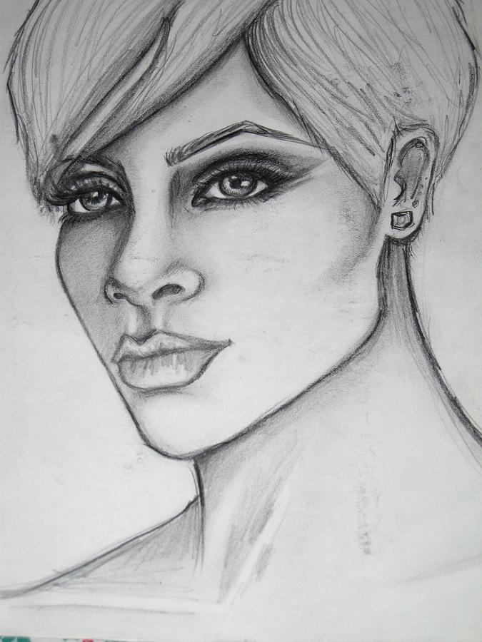 Stylized Portrait Of Rihanna Drawing - stylized portrait of Rihanna by Dana Biviano