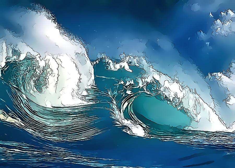 Wave Digital Art - Stylized Wave by Gareth Davies