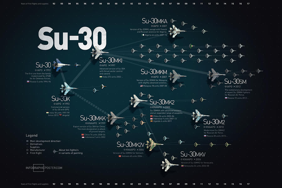 Military Digital Art - Su-30 Fighter Jet Family Military Infographic by Anton Egorov
