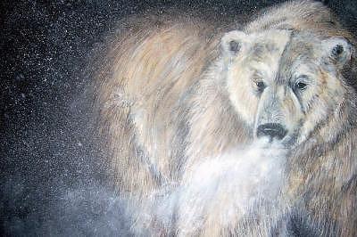 Polar Bear Painting - Sub-zero by Jennifer Watier