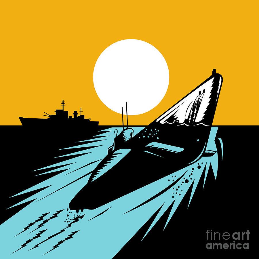 Illustration Digital Art - Submarine Boat Retro by Aloysius Patrimonio