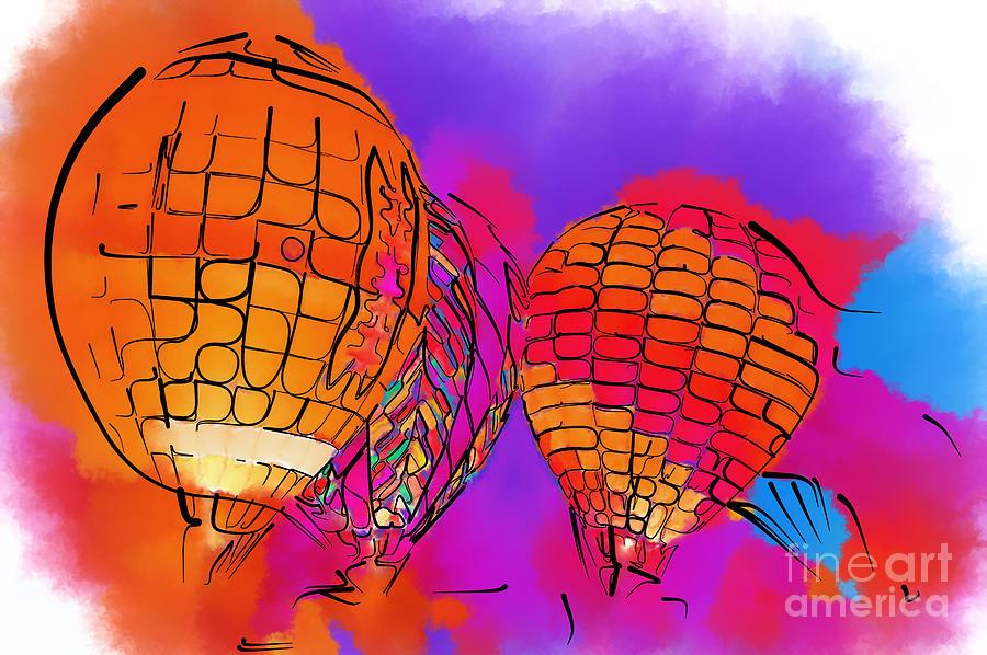 Hot Air Balloons Digital Art - Subtle Abstract Hot Air Balloons by Kirt Tisdale