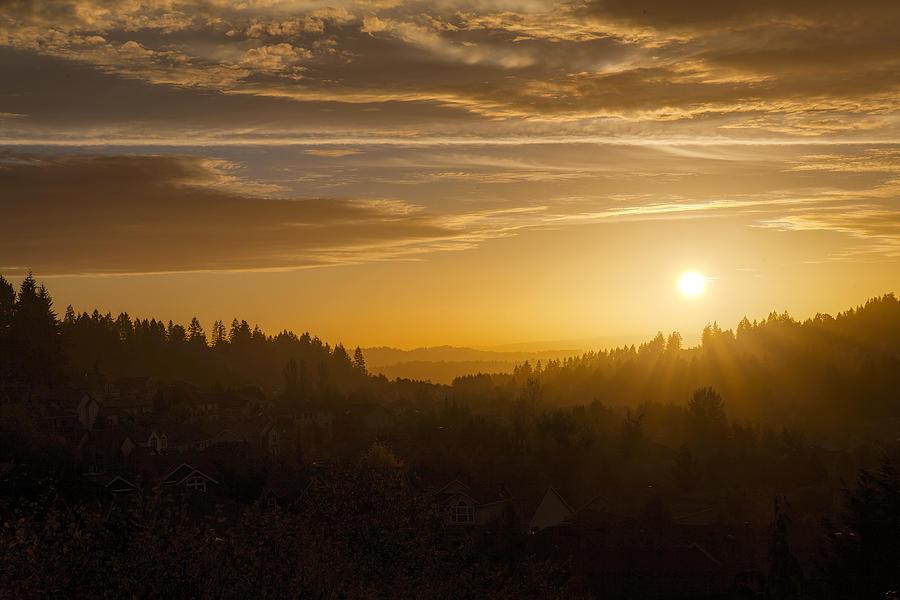 Sunset Photograph - Suburban Golden Sunset by David Gn