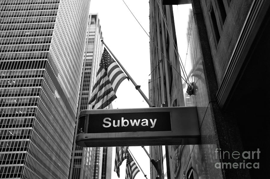 Subway Sign Photograph - Subway At Radio City Music Hall by John Rizzuto