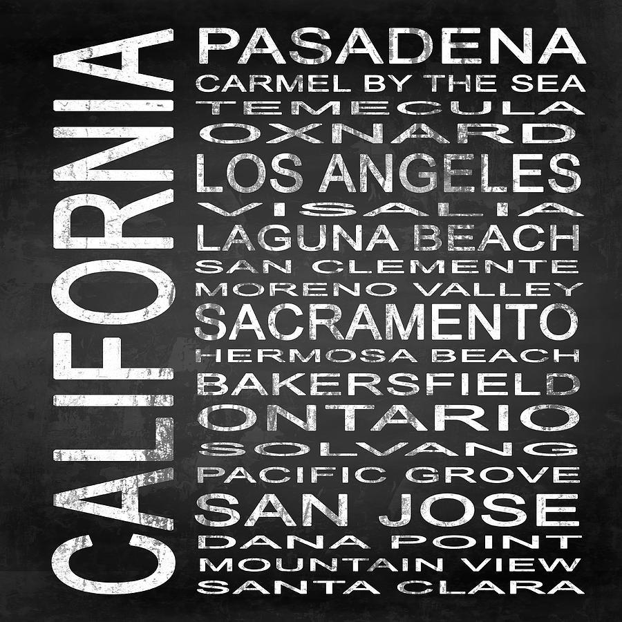 Subway Sign Digital Art - Subway California State 2 Square by Melissa Smith