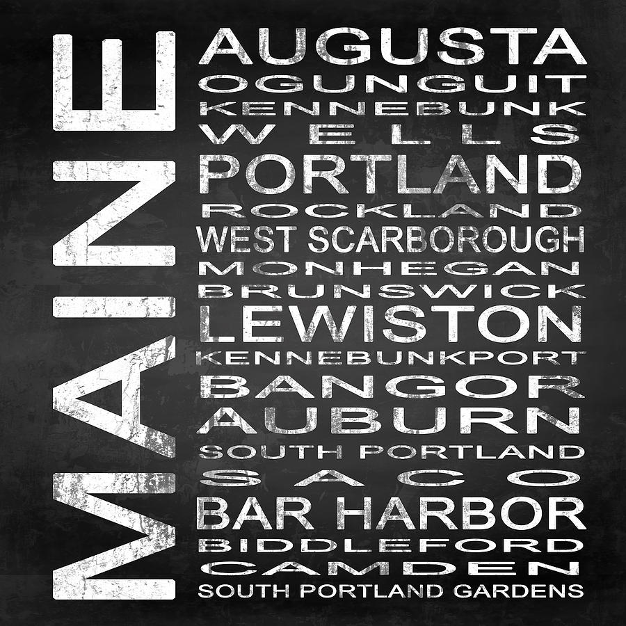 Subway Sign Digital Art - Subway Maine State Square by Melissa Smith