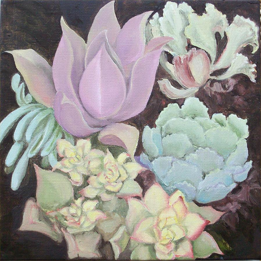Drought Tolerant Plants Painting - Succulants by Irene Corey