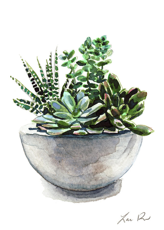 Succulents Painting - Succulent Arrangement in Modern Planter by Laura Row