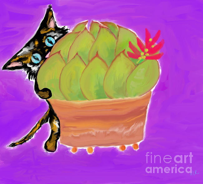 Succulent Calico cat  by REINA RESTO