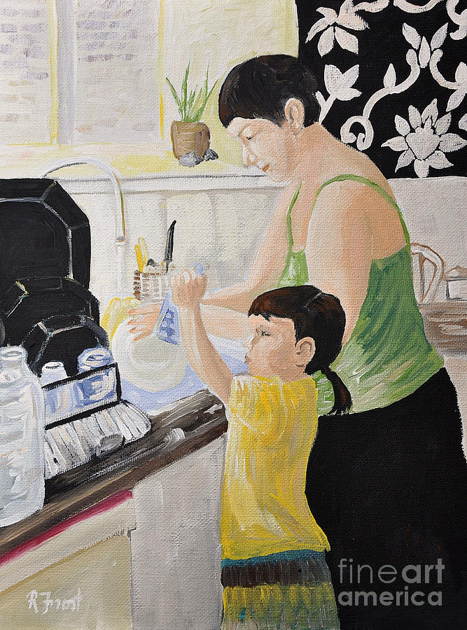 Family Together Painting - Sue And Loxy by Reb Frost