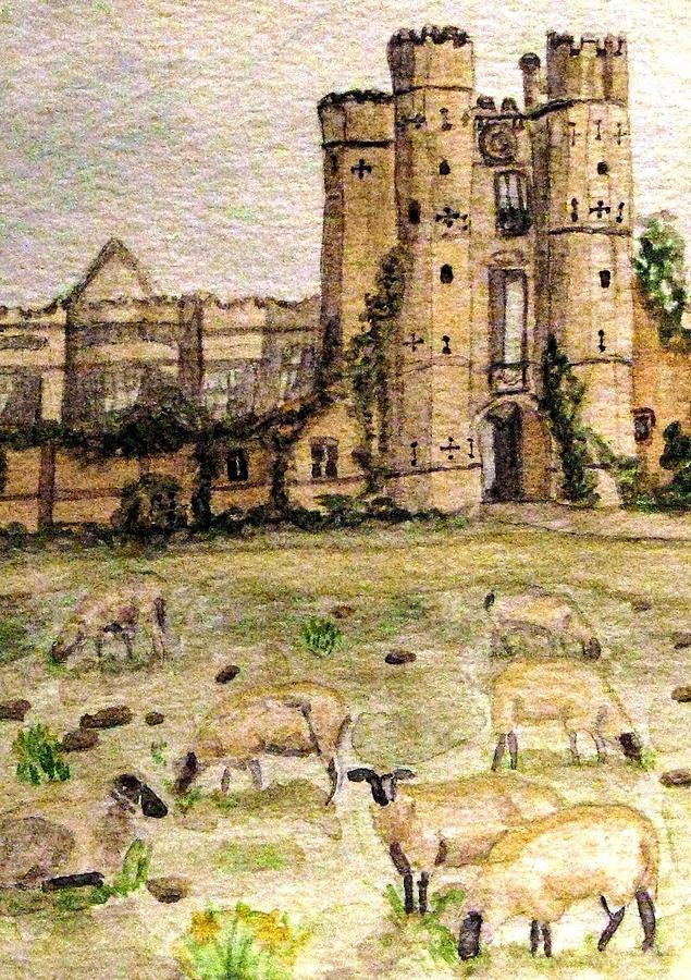 Suffolk Painting - Suffolk Sheep Grazing In Sussex by Angela Davies