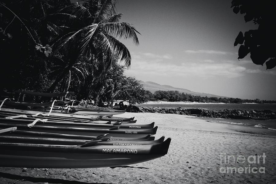Sugar Beach Photograph - Sugar Beach Hawaiian Outrigger Canoes Kihei Maui Hawaii  by Sharon Mau