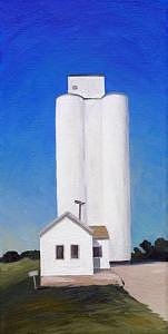 Sugar City Grain Elevator Painting by Lisa Graziotto