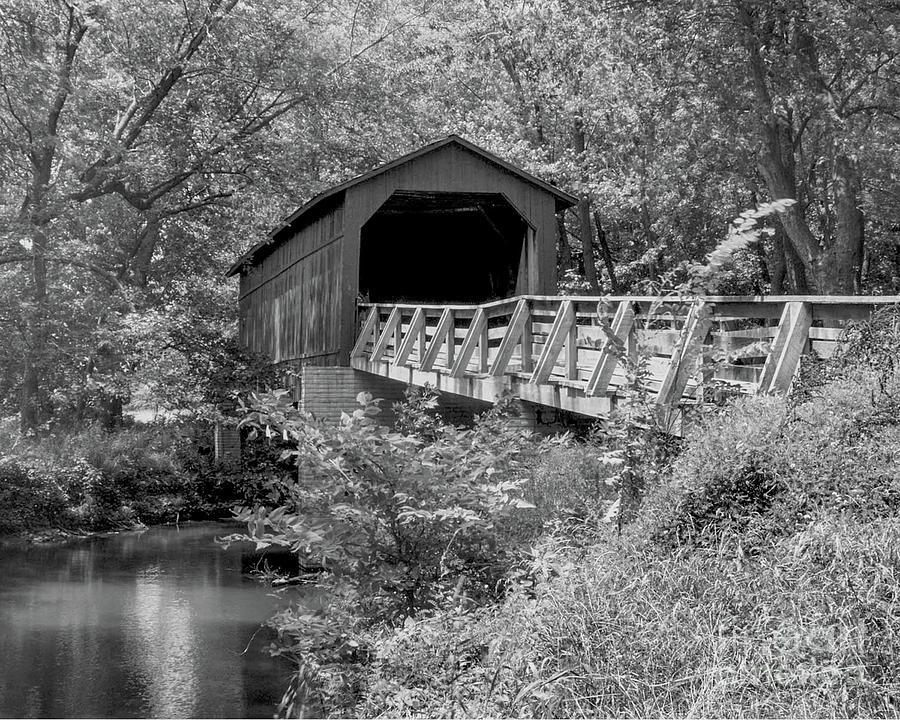 Sugar Creek Bridge Chatham Illinois-bandw Photograph