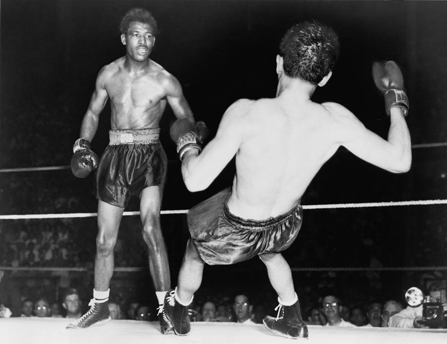 History Photograph - Sugar Ray Robinson 1921-1989 Watching by Everett