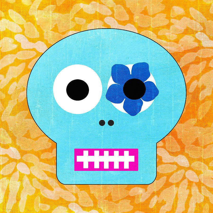 Sugar Skull Blue And Orange Painting