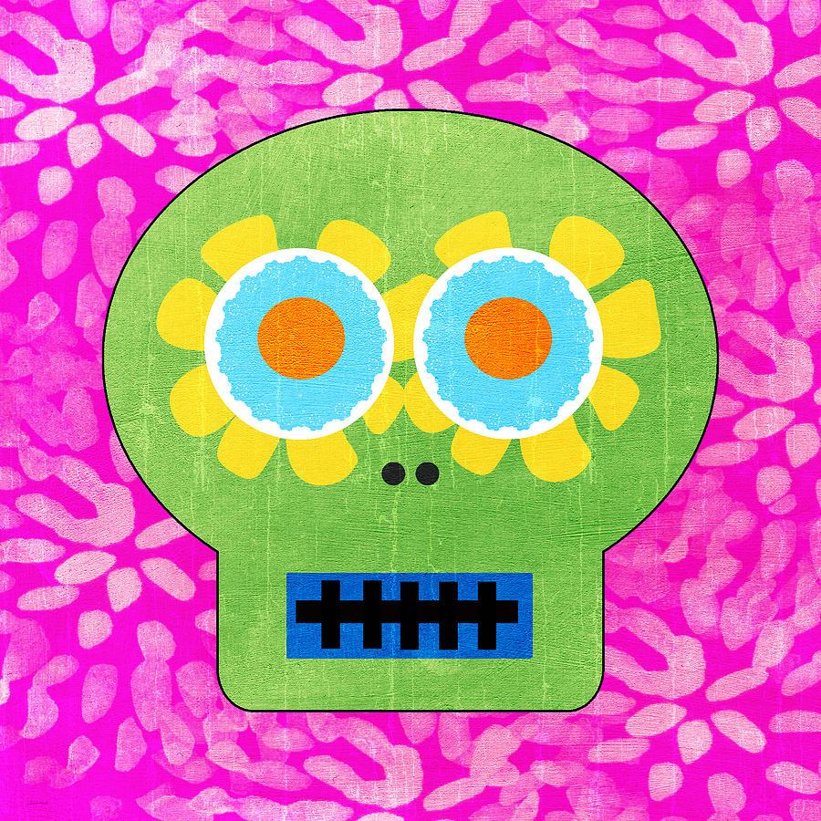 Sugar Skull Green And Pink Painting