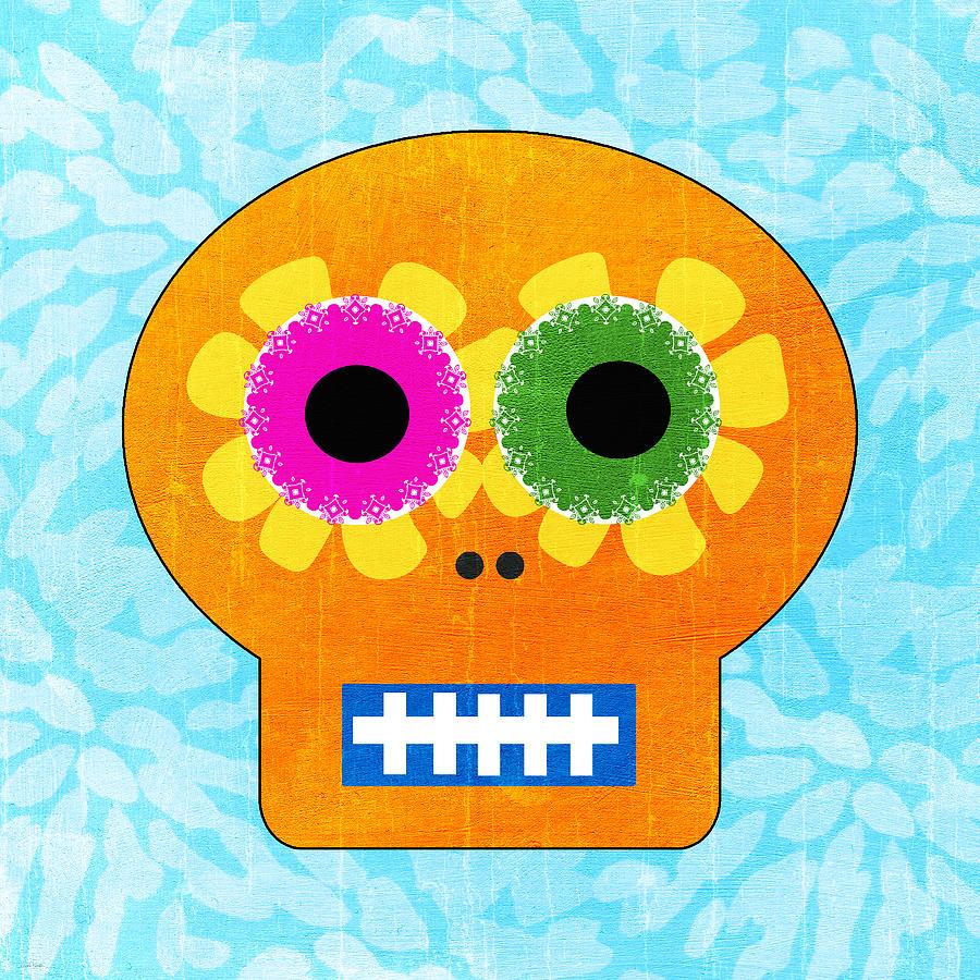 Sugar Skull Orange And Blue Painting