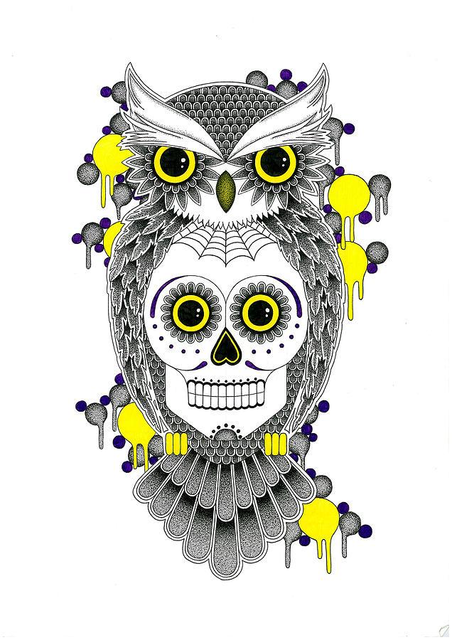 Sugar Skull Owl Drawing by Rich Banks