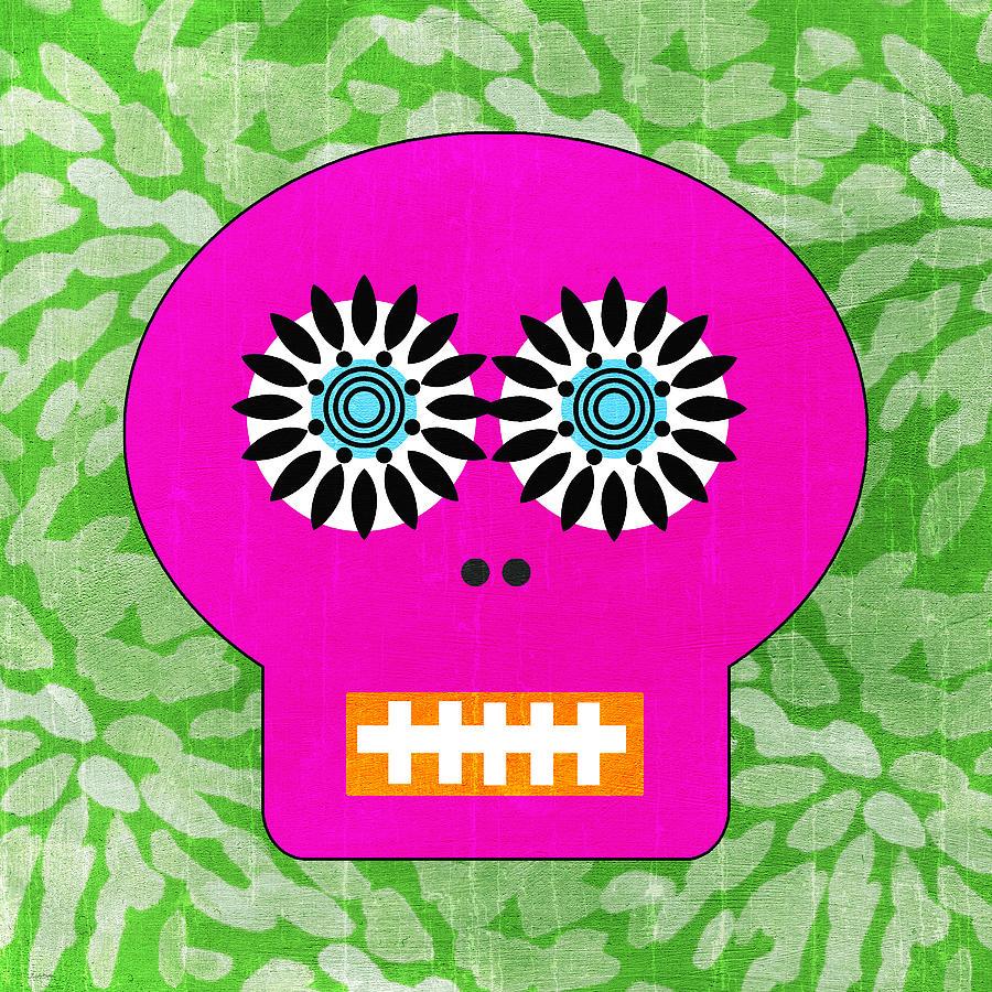 Sugar Skull Pink And Green Painting