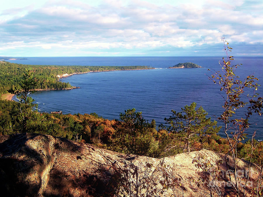Lake Superior Digital Art - Sugarloaf Mountain In Autumn by Phil Perkins