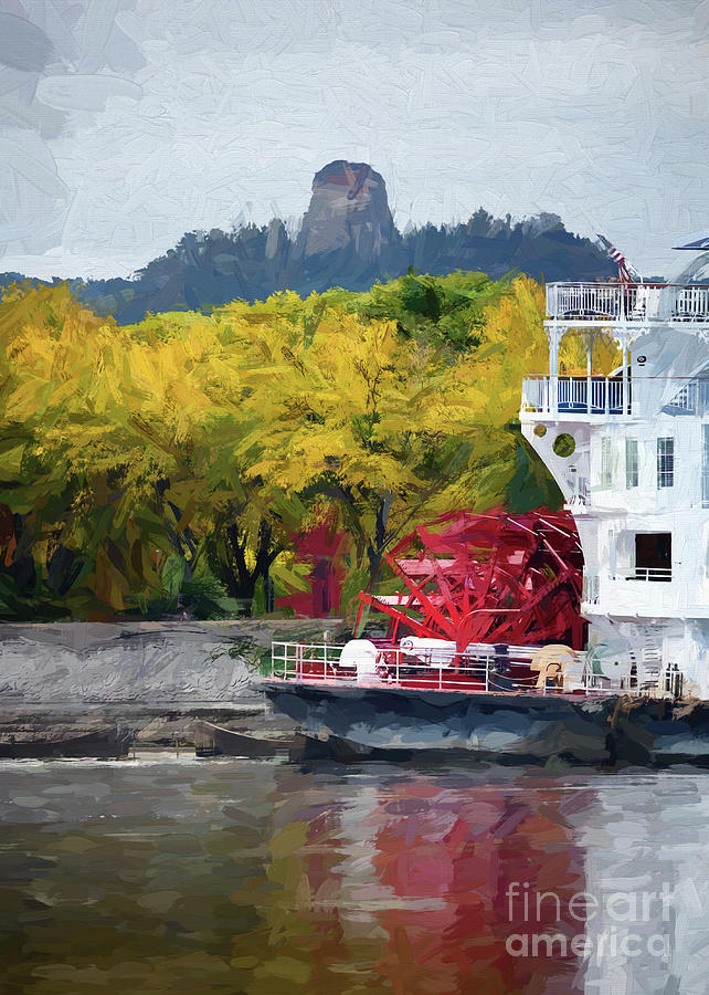 Sugarloaf with Paddlewheeler Digital Painting by Kari Yearous