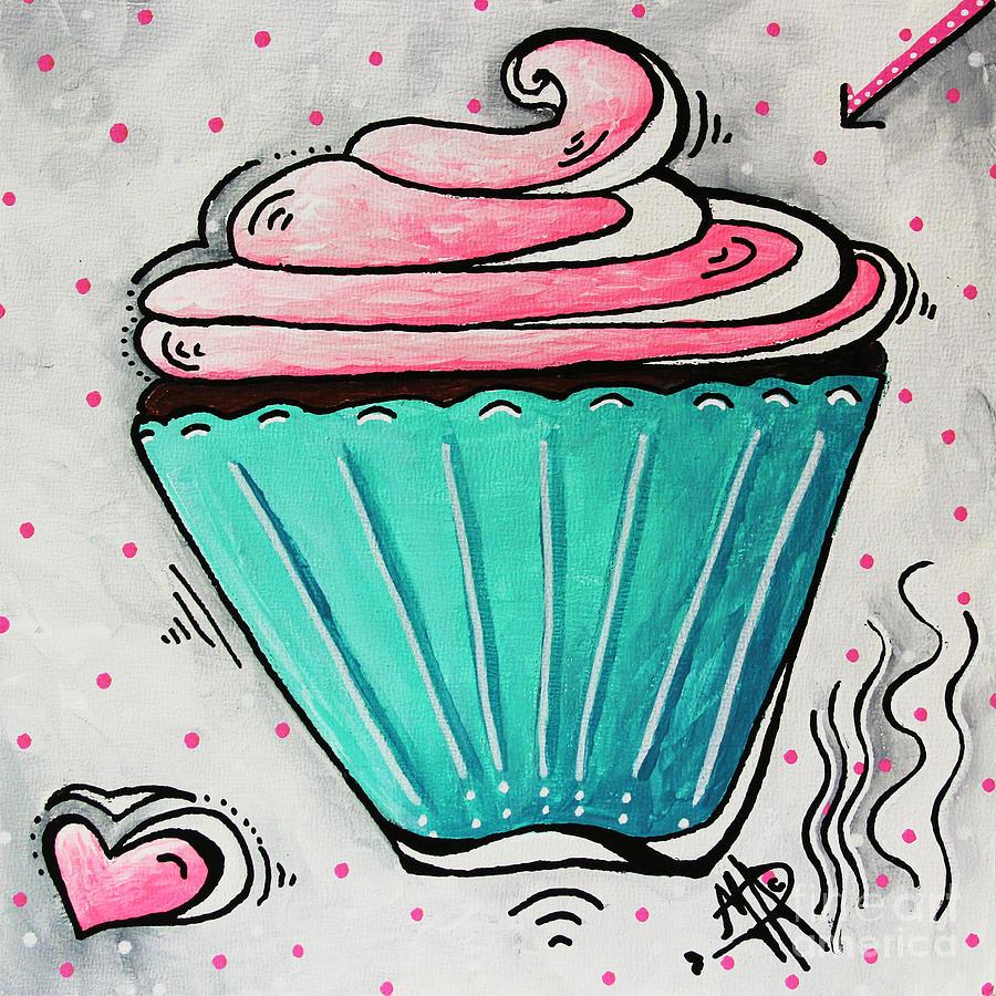 Cupcake Painting - Sugary Sweet Cupcake Mini Pop Art Original Painting By Madart by Megan Duncanson