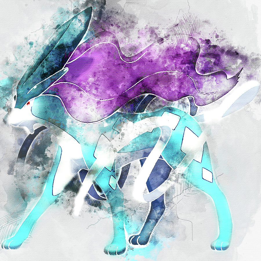 68a6350b Pokemon Painting - Pokemon Suicune Abstract Portrait - By Diana Van by Diana  Van