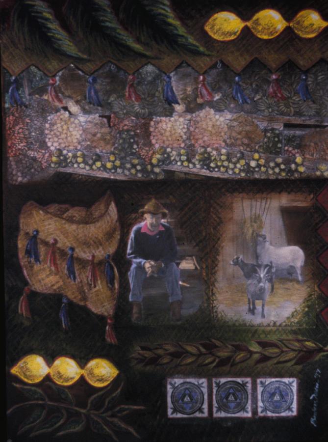 Sukkot Painting - Sukkah For Papa Zaca by Barbara Nesin