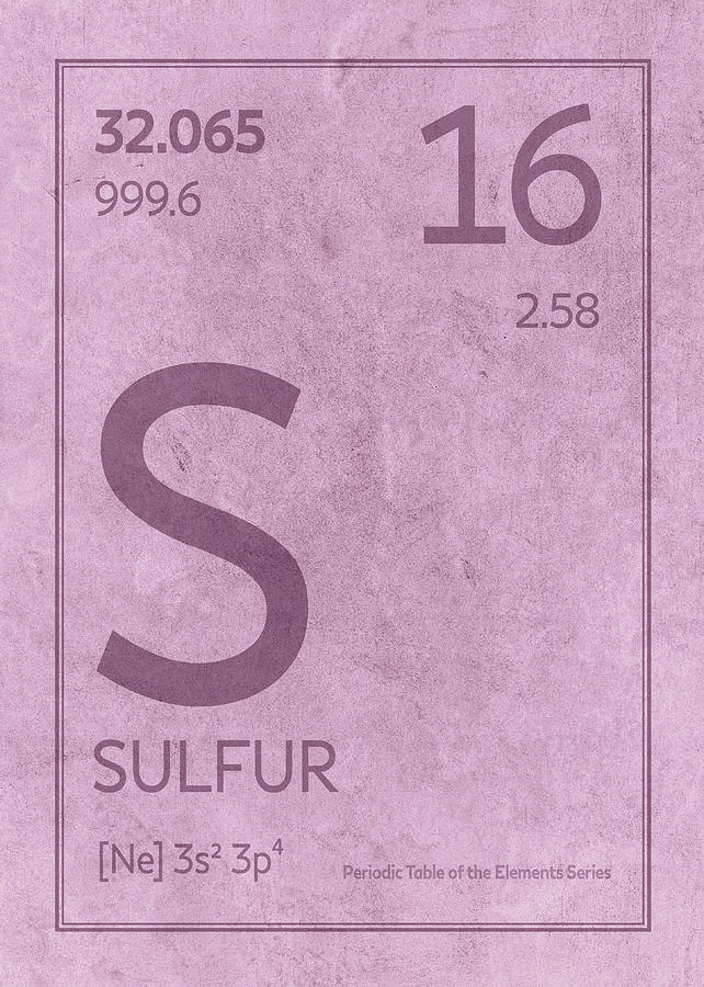 Sulfur Element Symbol Periodic Table Series 016 Mixed Media By