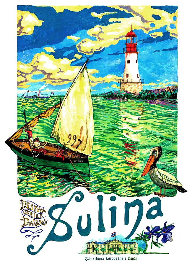 Sulina Painting - Sulina, Romania, Sailing Boat, Lighthouse by Long Shot